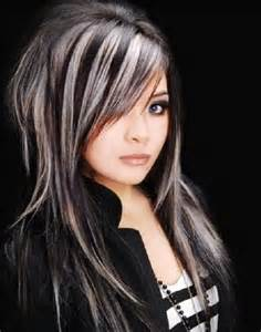 hair designs with grey streaks mechas platinadas en cabello moreno moda top online