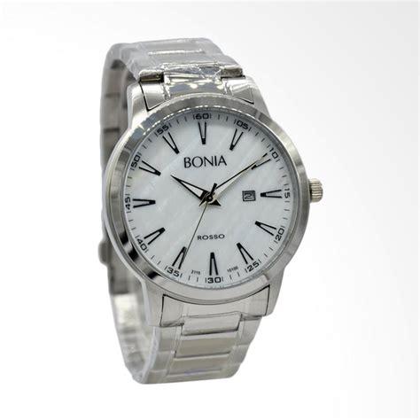 jual bonia rosso jam tangan pria silver putih bnb10100