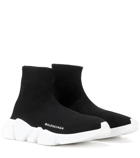 lyst balenciaga speed stretch sneakers in black