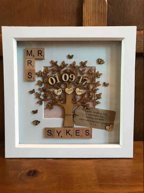 Wedding Anniversary Gifts Handmade by Wedding Personalised Mr Mrs Scrabble Box Frame Handmade