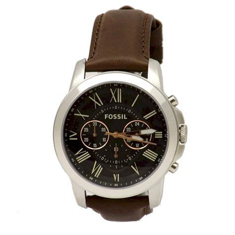 Fossil Fs4813 Leather Brown Silver Black Incld Box D 45 Mm fossil s grant fs4813 brown leather chronograph analog ebay