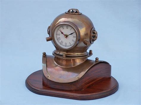 themes clock classic wholesale antique brass divers helmet clock on rosewood