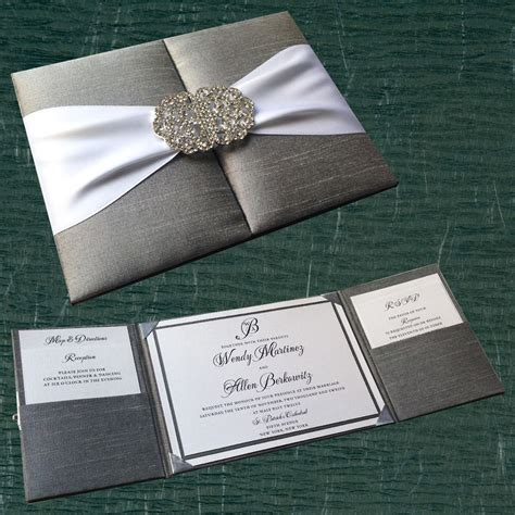 silk pocket box invitation with crystal buckle clasp
