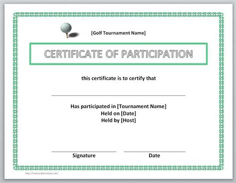 certificate of participation template word 28 images