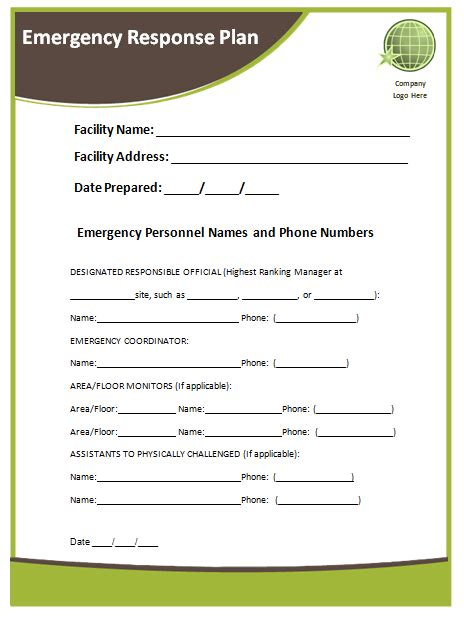Emergency Plan Template by Emergency Response Plan Images