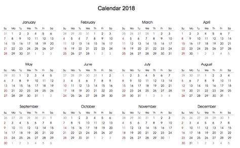 Calendar 2018 Format Printable 2018 Calendar Blank In Landscape Format