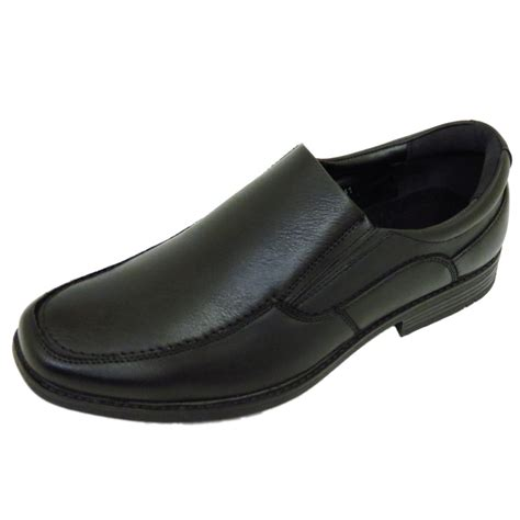 mens black slip on work wedding boys school smart casual