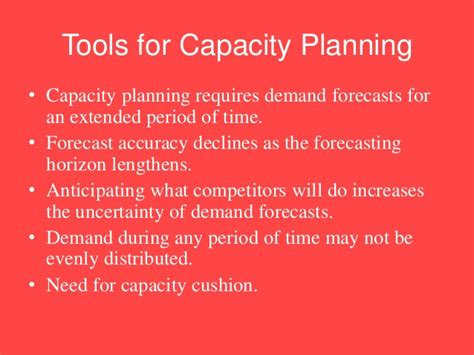 Objectives Of Demand Forecasting Mba by Tools For Capacity Planning Measurement Of Capacity