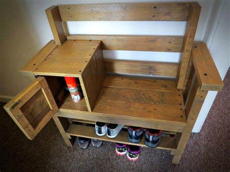 pallet bench with storage pallet bench with storage and shoe rack 101 pallet ideas