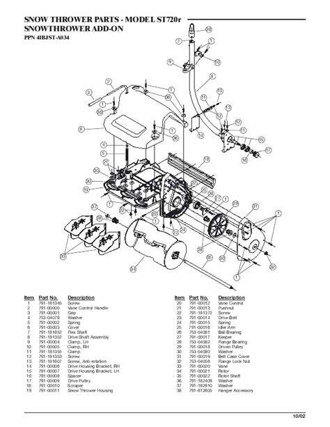yardman snowblower parts diagram mtd snow blower st720r user s guide manualsonline