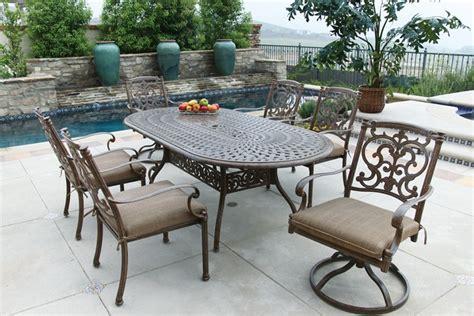patio furniture dining set cast aluminum 84 quot oval table
