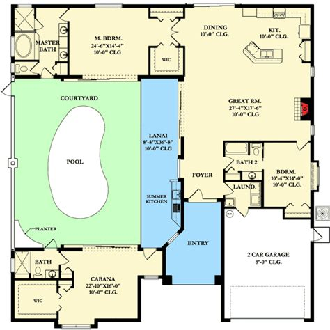 cabana floor plans plan 82034ka home plan with courtyard and guest cabana
