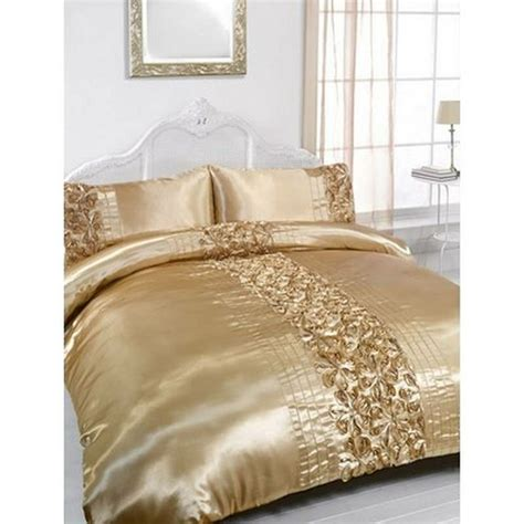 rita gold embellished king size duvet pillowcase bedding set