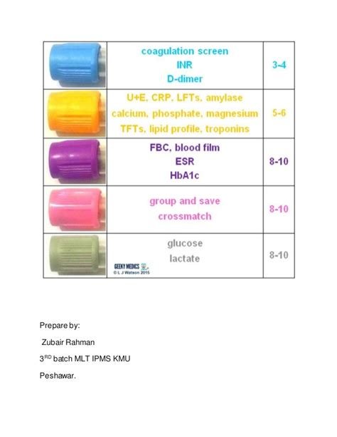 what color are used for which tests in phlebotomy blood collection with color heads