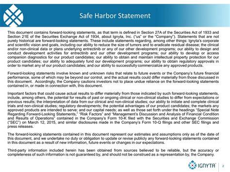 Slide 2 Safe Harbor Statement Template