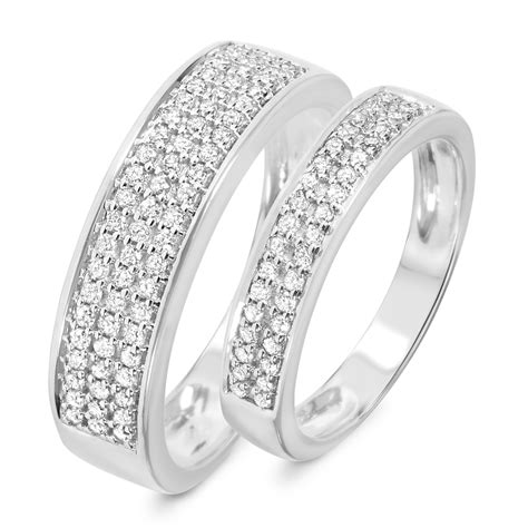 his and hers white gold wedding bands style wb169w10k