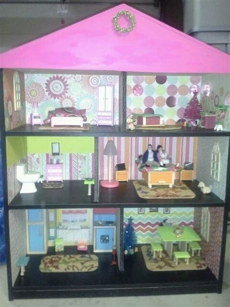 home made doll house homemade dollhouse that i made using a bookshelf scrapbook paper fun stuff