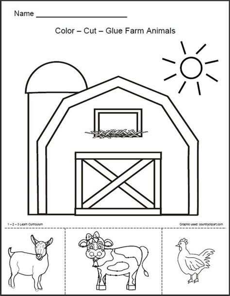 animals in the barnyard coloring page barn house 1 2 3 learn curriculum barn animals worksheet free