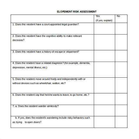 Elopement Risk Assessment Pictures To Pin On Pinterest Hcr 20 Risk Assessment Template