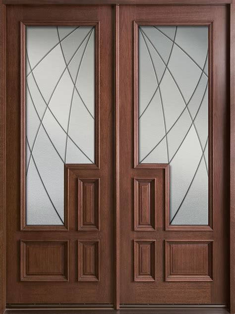 Solid Exterior Door Entry Door In Stock Solid Wood With Mahogany Finish Contemporary Series Model