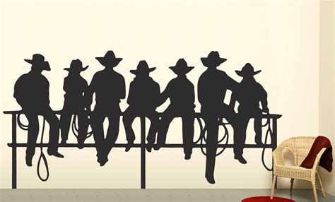 western wall stickers cowboys on fence western decal boys wall decal by