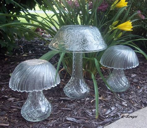 glass garden mushrooms made from bowls and vases yard art pinterest stains be cool and