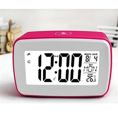 goldmice voice recording digital snooze alarm clock with lcd large screen and smart backlight