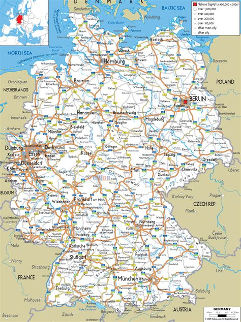 cities in germany large detailed road map of germany with all cities and