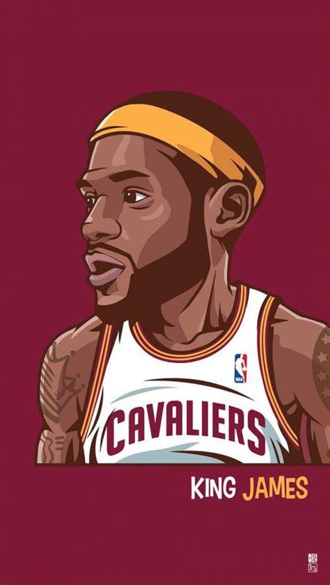 wallpaper cartoon basketball lebron james with a large head artwork illustration nba