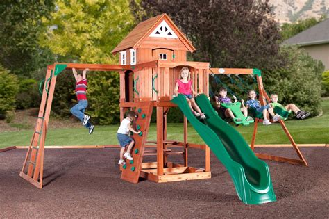 wooden backyard playsets wooden swing sets backyard adventures winnebago county
