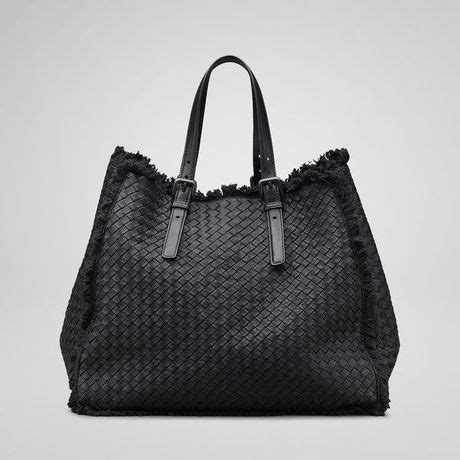 Bottega Nero Intreciatto Napa Tote Bag Handbag Tas Brande bottega veneta nero intrecciato maltinto nappa canvas tote in black nero lyst