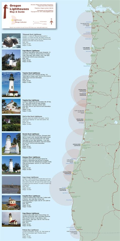 oregon on map list of lighthouses in oregon
