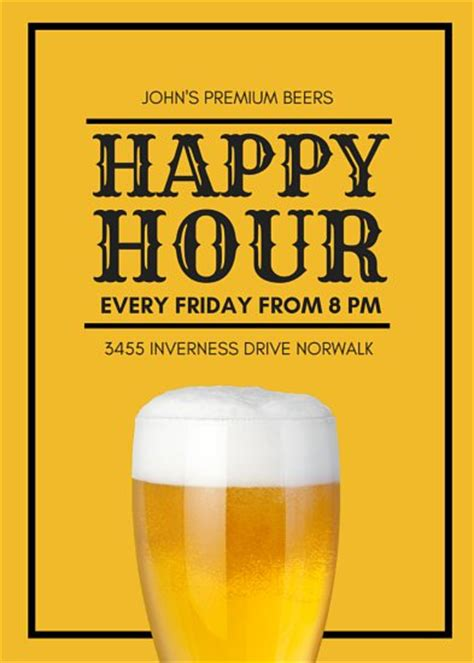 happy hour flyer templates canva