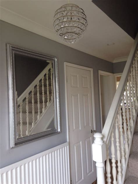grey wallpaper hallway ideas hallway dulux chic shadow with an up cycled gold mirror
