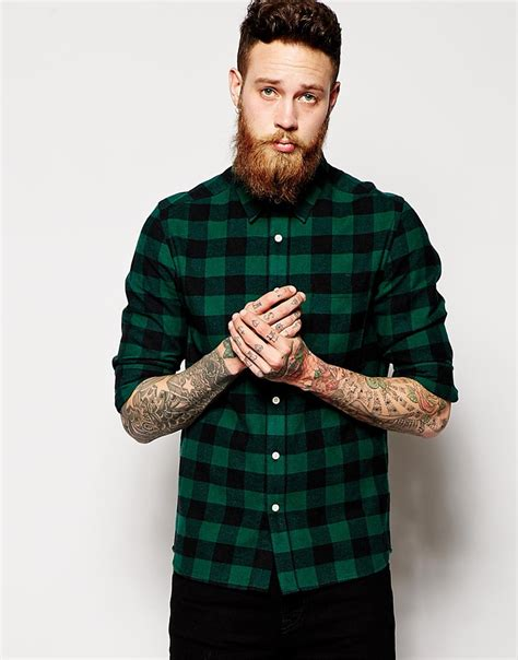 Fashion Shirt Jy773610 Green asos shirt in sleeve with brushed buffalo check in green for lyst