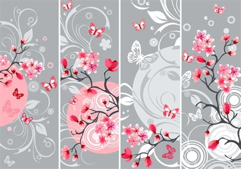 japan pattern photoshop elegant japanese cherry blossoms background vector