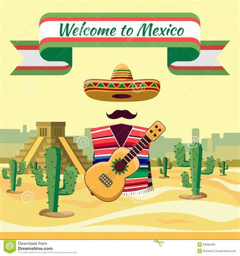 welcome to mexico stock vector illustration of