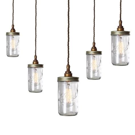 Cluster Of Jam Jar Ceiling Pendant Lights Hanging On Glass Pendant Light Fitting