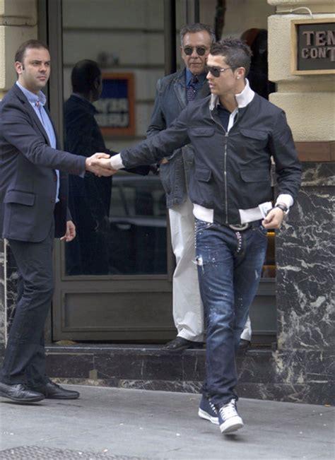 Jaket Bomber Black Wp Real Madrid cristiano ronaldo wearing gucci bomber jacket dsquared2