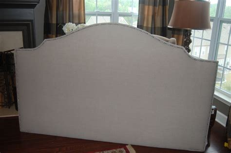 Custom Made Headboards Upholstered Custom Notched Upholstered Headboard Linen Silver Nickel Nail By Three Strands