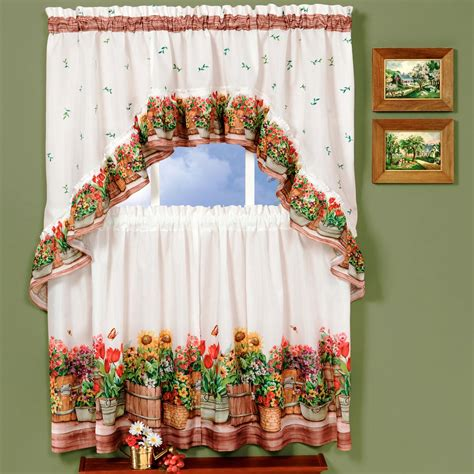Country Garden Flowers Kitchen Curtain 36 Quot Tier Pair 30 36 Kitchen Curtains