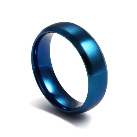 fashion blue ring stainless steel rings  men  women