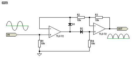 rectifier circuit using op wave precision rectifier