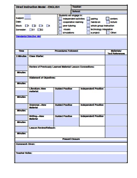lesson plan template pdf high school lesson plan template fillable pdf