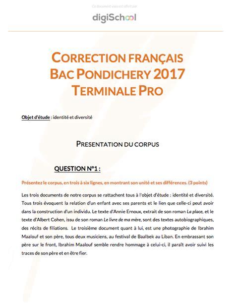 Présentation Lettre Français Bac corrig 233 fran 231 ais bac pro pondich 233 ry 2017