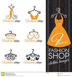 fashion shop logo orange clothes hanger and dress and butterfly stock vector image 62492013