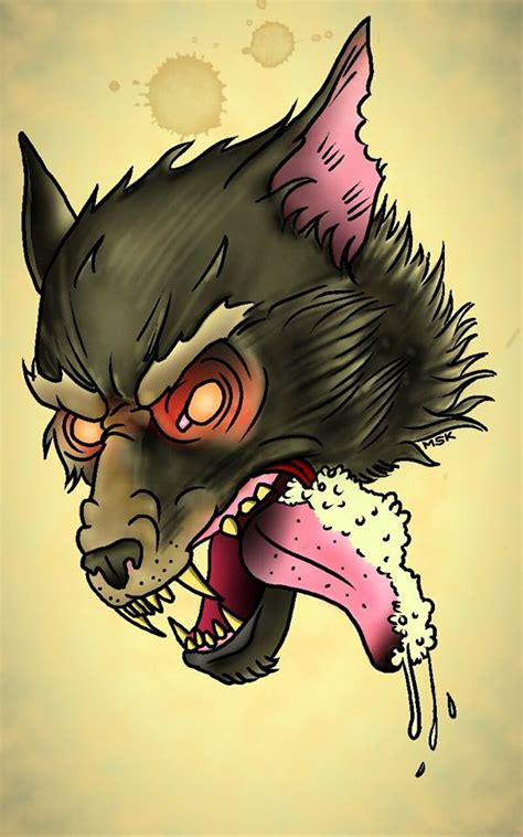 tattoo flash wolf deviantart more like traditional tattoo wolf by psychoead
