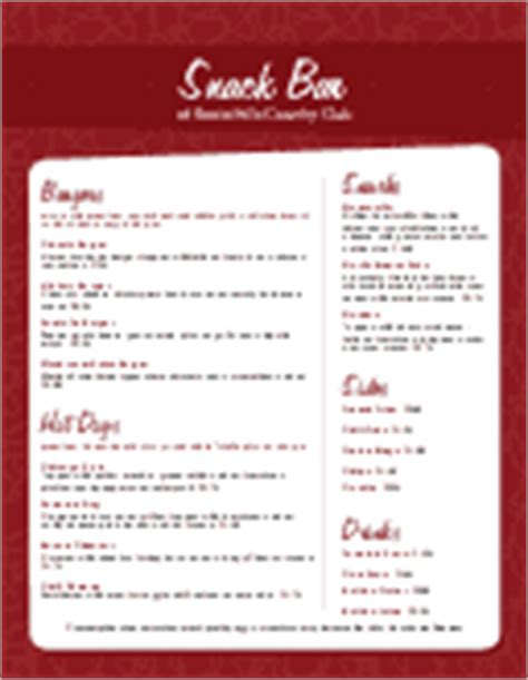 pool snack bar menu country club menu