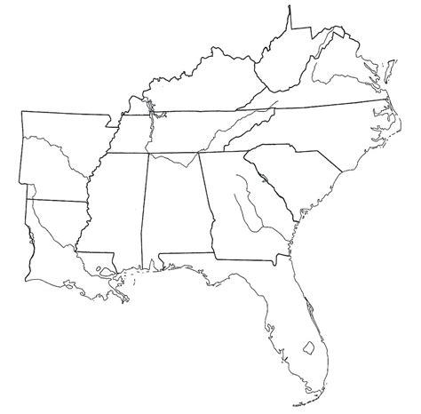 blank map of us southern states label southern us states printout outline best of