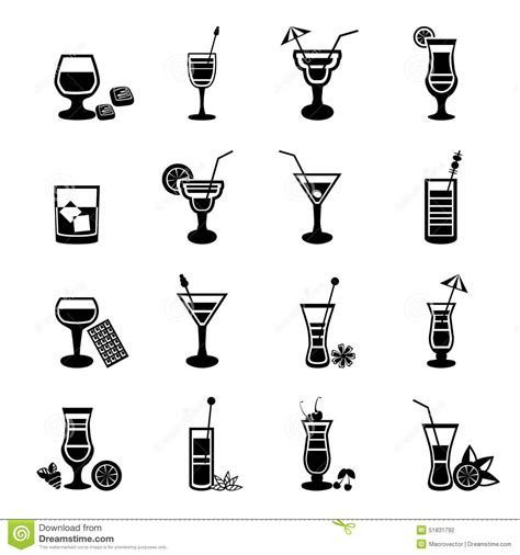 mixed drink clipart black and white black and white cocktail icons set stock vector